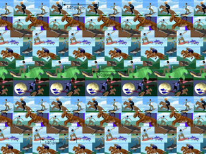 Autostereogram - This is an example of a wallpaper with repeated horizontal patterns. Each pattern is repeated exactly every 140 pixels. The illusion of the pictures lying on a flat surface (a plane) further back is created by the brain. Non-repeating patterns such as arrows and words, on the other hand, appear on the plane where this text lies.