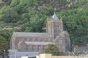 St John's Church, Barmouth - Photo of St John's Church taken from Barmouth Beach