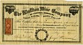 Stock certificate for $200 of stock of Frederic Munch (Friedrich Muench) in the Bluffton Wine Company, signed by Isidor Bush and George Husmann, May 25, 1867.jpg