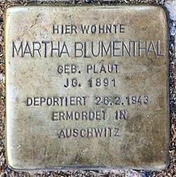 Photo of Martha Blumenthal brass plaque