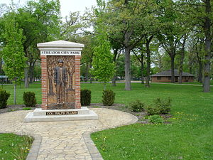 Streator, Illinois - A relief of Ralph Plumb in Streator City Park.