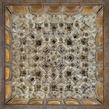 Stucco ceiling in Alhambra, Granada, Spain.