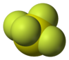 Space-filling model of sulfur tetrafluoride