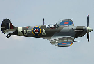 402 Squadron - Supermarine Spitfire Vb number EP120 (2010). This aircraft was allocated to several squadrons during World War 2, including 402, and destroyed seven Axis aircraft. It is currently painted in the markings it carried when serving with 402 Squadron
