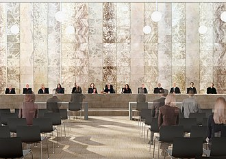 Large courtroom of the Supreme Court of the Netherlands. Supreme Court of the Netherlands, large courtroom (cropped).jpg
