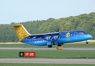 Swedish Football Association - A Malmö Aviation aircraft displaying the Svenska Fotbollförbundet logo.