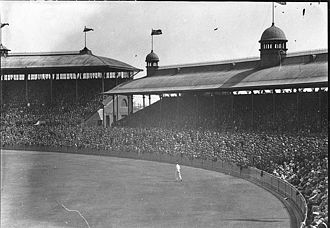 A crowded SCG during a 1930s cricket match Sydney Cricket Ground 1930s.jpg