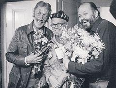 Fr.v. Max von Sydow, Povel Ramel och Beppe Wolgers i De sista entusiasterna (1968).