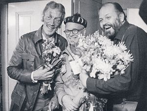 Max von Sydow - von Sydow (left) with Povel Ramel and Beppe Wolgers, 1968.