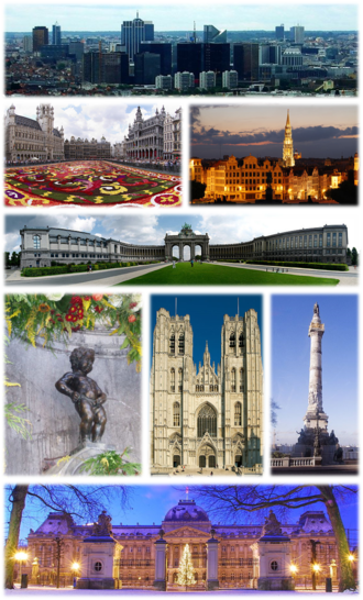Brussels - A collage with several views of Brussels, Top: View of the Northern Quarter business district, 2nd left: Floral carpet event in the Grand Place, 2nd right: Brussels City Hall and Mont des Arts area, 3rd: Cinquantenaire Park, 4th left: Manneken Pis, 4th middle: St. Michael and St. Gudula Cathedral, 4th right: Congress Column, Bottom: Royal Palace of Brussels