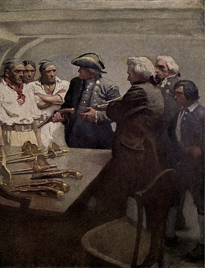 Sailors and men in suits gather around a naval officer, with a collection of pistols and swords lying on a table in the foreground.