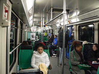 Lausanne Metro - Interior of a line M1 train