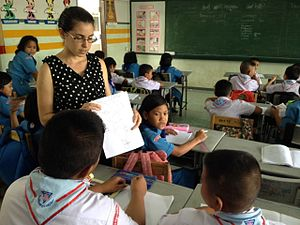 Street-level bureaucracy - An elementary school teacher instructing her students.