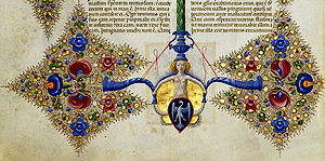 Taddeo Crivelli - Detail from a page of the Borso Bible displaying the Este family's coat of arms
