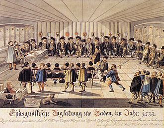 Second War of Kappel - The Tagsatzung of 1531 in Baden failed to mediate between the parties (1790s drawing)