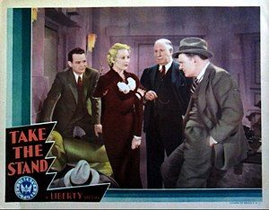 Paul Hurst (actor) - Lobby card for Take the Stand (1934), L-R: Russell Hopton, Thelma Todd, unknown player, and Paul Hurst