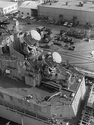 RIM-8 Talos - Image: Talos missile guidance radars on USS Oklahoma City (CLG 5), in October 1963 (NH 98688)
