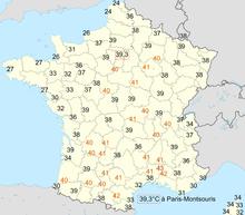Carte des températures maximales relevées en France le 12 août 2003 (jour le plus chaud de l'année) d'après Météo-France
