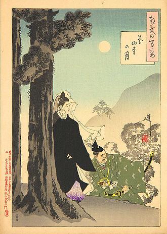 Emperor Kazan - Emperor Kazan, who was tricked into abdicating, on his way to the temple where he will become a Buddhist monk – woodblock prin by Yoshitoshi Tsukioka (1839–1892).