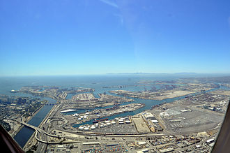 Terminal Island - Terminal Island, which includes Federal Correctional Institution, Terminal Island. Gerald Desmond Bridge is also visible in the background.
