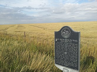 California Road - Image: Texas Historical Marker trail route