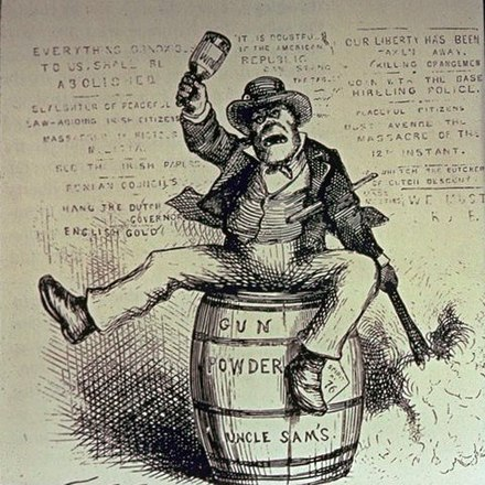 American political cartoon titled The Usual Irish Way of Doing Things, depicting a drunken Irishman lighting a powder keg and swinging a bottle. Published in Harper's Weekly, 1871. TheUsualIrishWayofDoingThings (cr).jpg