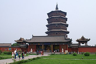Pagoda of Fogong Temple - The pagoda and temple grounds