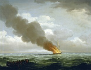 The 'Luxborough Galley' burnt nearly to the water, 25 June 1727