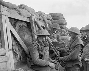 11th (Northern) Division - Infantrymen of the 6th (Service) Battalion, York and Lancaster Regiment at a lewis machine gun post, on the front line near Cambrin, Pas-de-Calais, France, 6 February 1918.