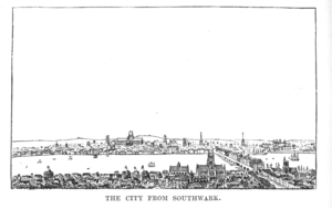 Coldharbour, City of London - Coldharbour and the City of London from Southwark in Elizabethan times