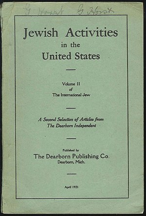 The International Jew - Jewish Activities in the United States (Volume 2) - April, 1921