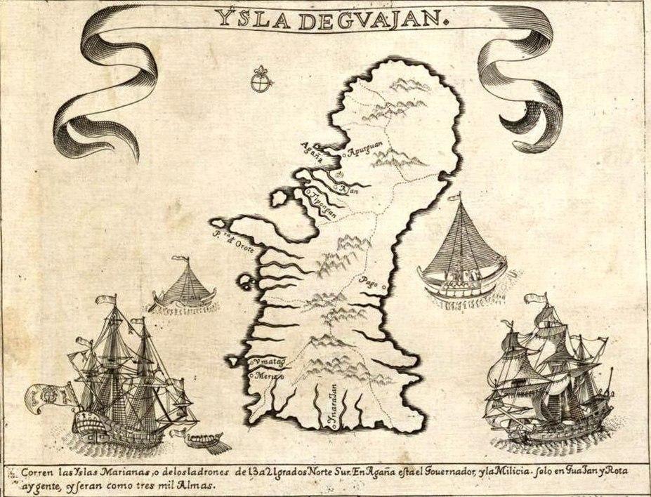 The Island of Guajan (Guam), detail from Carta Hydrographica y Chorographica de las Islas Filipinas (1734)
