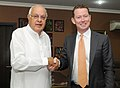 The Minister of State for Energy and Climate Change, United Kingdom, Mr. Greg Barker meeting the Union Minister for New and Renewable Energy, Dr. Farooq Abdullah, in New Delhi on November 15, 2011.jpg