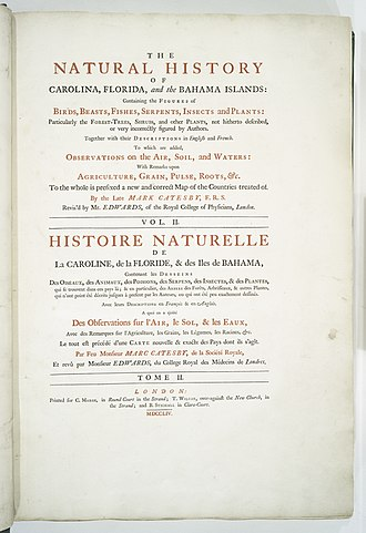 Mark Catesby - Title page, volume two, second edition of Catesby's The Natural History of Carolina, Florida and the Bahama Islands, London, 1754