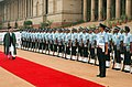 The President of Afghanistan, Mr. Hamid Karzai inspecting the Guard of Honour at the ceremonial reception, in New Delhi on August 04, 2008.jpg