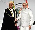 The Prime Minister, Shri Narendra Modi meeting the President of the Republic of Union of Comoros, Dr. Lakililou Dhoinine, on the sidelines of the 3rd India Africa Forum Summit 2015, in New Delhi on October 29, 2015.jpg