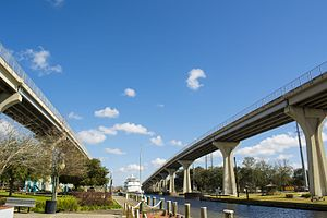 """Houma, Louisiana - The """"Twin Spans"""" bridges in downtown Houma serve as the main thoroughfare for crossing the Intracoastal Waterway"""