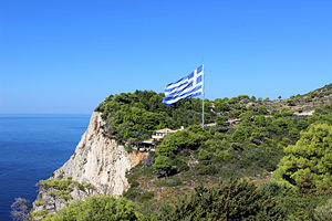 "Keri, Greece - ""The biggest Greek flag"" above the Fanari cliffs"