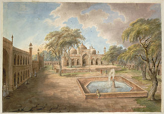 Ghazi ud-Din Khan Feroze Jung I - The courtyard of Ghazi al-Din Khan's Madrassah at Delhi, 1814-15