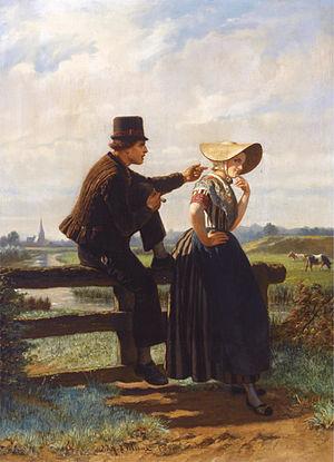 Adolf Alexander Dillens - The Flirtation, 1858