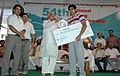 The gold medallist and Arjuna Awardee, Boxer Vijender being honoured by the Union Minister for Railways, Shri Lalu Prasad at the closing ceremony of 54th Senior National (Men) Boxing Championship, in New Delhi.jpg