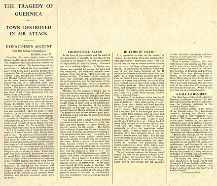 George Steer's report in The Times The tragedy of Guernica (George Steer).jpg