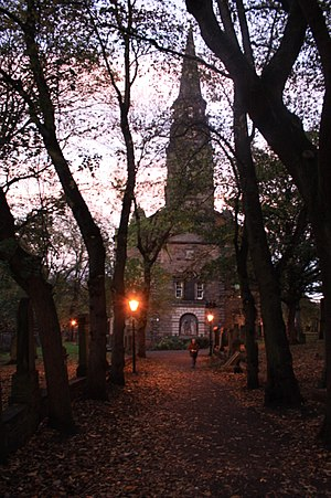 St Cuthbert's Church, Edinburgh - Image: The western approach to St Cuthberts in Edinburgh, in the twilight