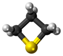 Ball-and-stick model of the thietane molecule