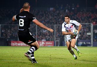 France vs New Zealand in the 2013 Rugby League World Cup at Parc des Sports (Avignon). Thomas Bosc 2013 (1).JPG