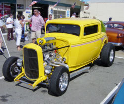 Three window coupé hot rod with chopped top.