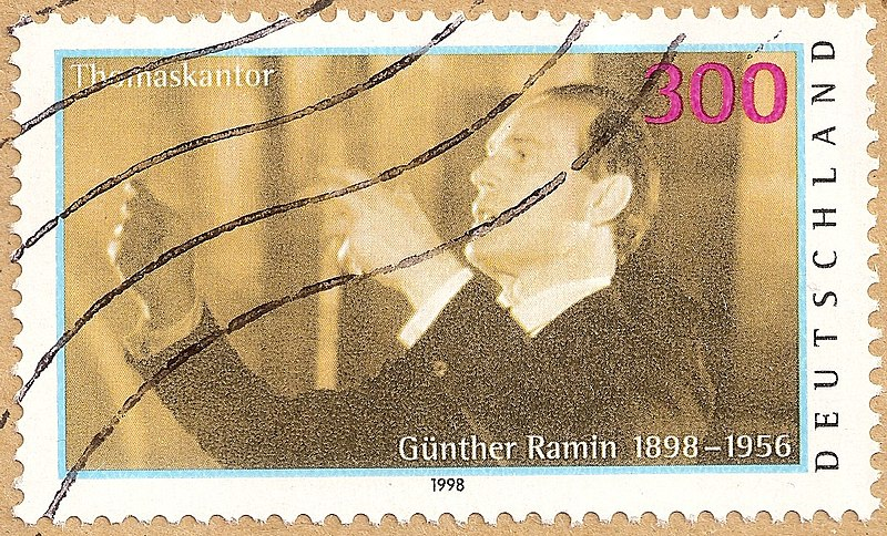 Bestand:Timbre Allemagne 1998 Gunther Ramin obl.jpg