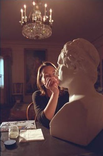 White House Office of the Curator - A marble bust of George Washington by sculptor Giuseppe Ceracchi (1751–1801) receives conservation work in the China Room.