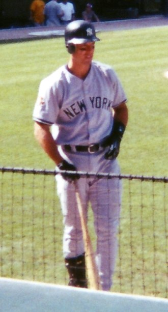 Tino Martinez - Martinez in the on-deck circle at Edison Field on August 25, 2001