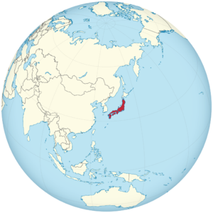 Tokugawa shogunate of Japan on the globe (de-facto) (Japan centered).png